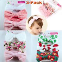 uk 3PCS New Headband Soft Cotton Elastic Baby Print Hair Band Girls Bow knot