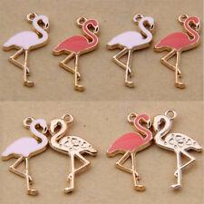 Pink /10pc Flamingo Bird Pendant Charm Animal Enamel Earring Necklace Making
