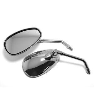 Rear View Mirrors 10mm Motorcycle Oval Chrome For Honda Suzuki Yamaha Kawasaki