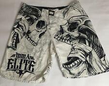 Mma Elite Men White And Black Large Skull Boxing Fighting Shorts 147
