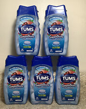 (5) TUMS Smoothies Extra Strength 750 Antacid Berry Fusion 60 Tablets Each