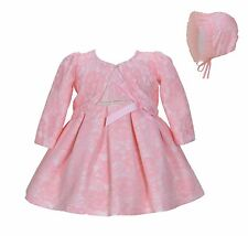 Cinda Baby Girl Pink Lace Party Dress with Bonnet and Bolero 12-18 Months