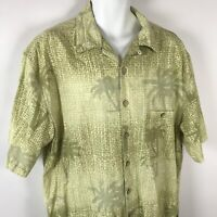 Joe Marlin XL Hawaiian Shirt Cotton Aloha Wood Button Front Palm Trees Luau Mens