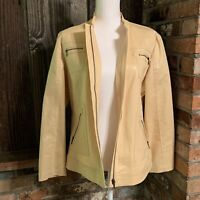 Chicos Yellow Snake Skin Print Zippered Jacket Cotton Poly Misses Size 2 (large)