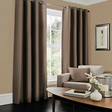 Luxury Faux Silk Ready Made Eyelet Ring Top Curtains With Tie Back Fully Lined