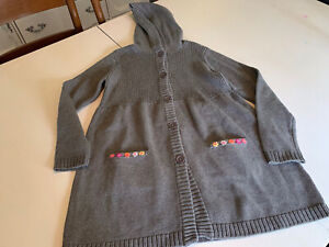 hanna andersson girls 150 12 gray hooded long sweater flowers Cardigan