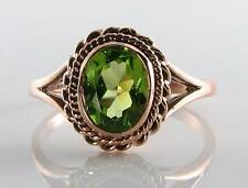 QUALITY 9CT 9K ROSE GOLD AAA PERIDOT SOLITAIRE VINTAGE INS RING FREE RESIZE