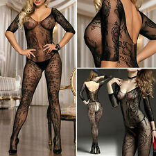 Geometric Lace Sleeved Fishnet Bodystocking Bodysuit Pantyhose Medium/Plus Size