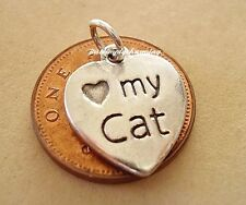 LOVELY LOVE MY CAT STERLING SILVER CHARM CHARMS