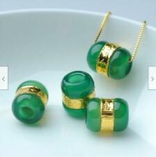 1 pcs Solid 24K Yellow Gold Lucky Bead Pendant Natural Jade Free Chinese
