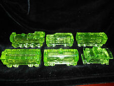 Set / 6 Green Vaseline glass uranium train engine boxcar coal car caboose tanker