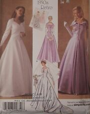 S-4259 1950s Retro Gown Bridal Dress Sewing Pattern Simplicity Size 6 to 14 UC