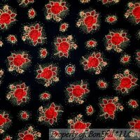 BonEful Fabric FQ Cotton Quilt VTG Black Red Rose Flower Small Dot Gold Metallic