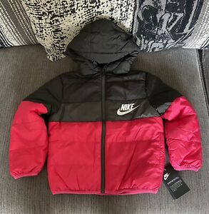 Girls Nike Bubble Coat Black And Pink  Age 7