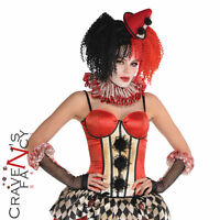Adult Circus Clown Corset Top Ladies Halloween Fancy Dress Costume Outfit New