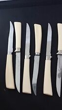 Forgecraft 4pc and 2pc Quikut Steak Knife Stainless Steel Forge White Handle USA