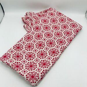 Vintage Handmade Full Size Duvet Cover Red Primitive Cottage Core Red White
