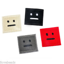 4pcs Emoji Face Square Embroidered Iron Sew on Patch Dress Jeans Badge