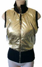 GOLD vest 40 medium ski bling metallic small puffy bubble faux leather shiny
