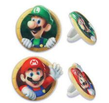 Super Mario Bros Luigi cupcake rings (24) party favor cake topper 2 dozen