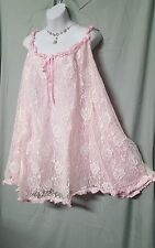 AMOUREUSE SEXY PINK /IVORY NYLON LINED BABY DOLL NIGHTGOWN WOMEN PLUS SIZE 4X