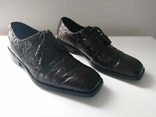 Rare Vintage Giorgios Bruntini Genuine Leather Brown Alligator Shoes w/ Box 8.5