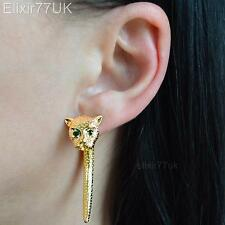 UK NEW GOLD CAT LEOPARD STUD SPIKE EARRING KITTEN EAR CUFF DIAMANTE CRYSTAL GIFT