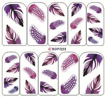 Nail Art Sticker Water Decals Transfer Stickers Purple Feathers (BOP223)