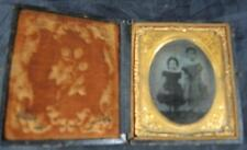 Daguerreotype * Two Young Sisters * Hand Painted Dress