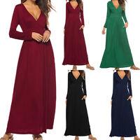 Women's Long Sleeve Loose Plain Maxi Dresses Casual V-Neck Long Pockets Dress US
