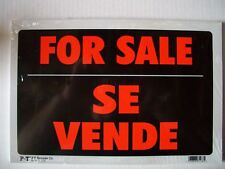 """12 Pack   Red & White 8x12 Inch Flexible Plastic """"FOR SALE  SE VENDE"""" Sign's"""