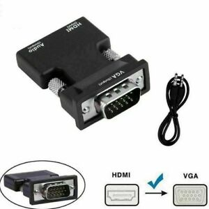 Adaptador HDMI a VGA con salida Jack de audio Conversor Video TV PC Hembra Macho
