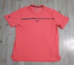 Nike Men's XL AeroReact Challenger Nadal Tennis Court Shirt Hot Punch 854662-667
