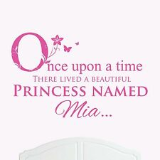 A Beautiful Princess Named Mia Large Once Upon a Time Wall Sticker/Decal Girl