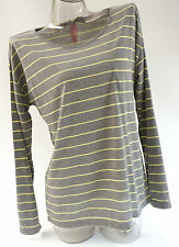 New! Jenni by Jennifer Moore Grey Striped Top Pajama Sleepshirt Size Medium