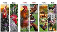 3 Lot-CHICKEN BOOKMARKS Book Card Mini FARM Art Barn Rooster Barred Red Chicks