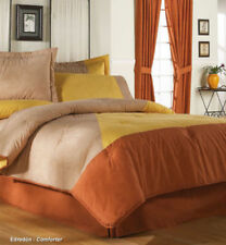 New Double Sided Beige Yellow Brown Comforter Bedding Set Queen 8PC