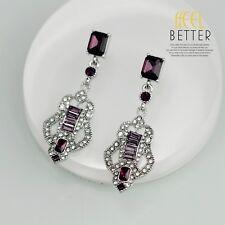 Bridal Earrings CLIP Silver Purple Crystal Art Deco Wedding Class Vintage YW6