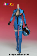 Play Toy Collectible Female 1:6 Action Figure Racing Girl Cloth in Blue PC002B