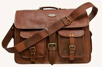 "18"" Vintage Briefcase Satchel Soft New Leather Laptop Messenger Bag Shoulder Men"