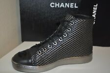 CHANEL 16B Black Silver Mesh Leather CC Lace Up High Top Trainer Sneaker Shoe 35