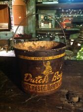 Antique Dutch Boy Metal Lead Paint Tin Bucket With Handle