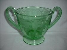 Vintage Green Depression Glass Sugar Bowl with Etching