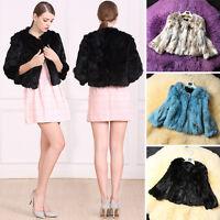 100% Real Genuine Rabbit Fur Short Coat Jacket Outwear Women Winter
