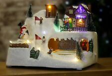 Musical Christmas LED Village Scene With Snowman Multi Coloured Pre-Lit Ornament