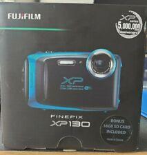 Fujifilm FinePix XP130 Digital Camera, Sky Blue with 16GB Case and Strap Bundle