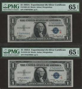 1935 A $1 Experimental (R) & (S) Silver Certificates Two Notes PMG 65 EPQ