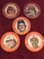 7 11 Slurpee Disc Phillies Pete Rose + Schmidt Brett Carter Dawson 1984 MLB HOF