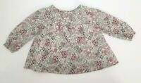 INFANT GIRLS BABY GAP PINK & GREEN FLORAL SMOCKED TUNIC TOP SHIRT BLOUSE 3-6 MON