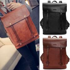 Fashion Men's Women's Leather Backpack Travel Satchel Laptop Rucksack School Bag